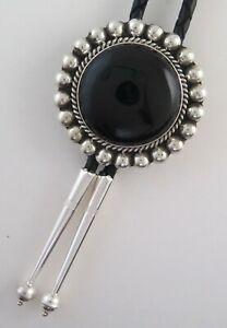 Large Sterling Silver & Black Onyx Elegant Beaded Border Round Bolo Tie