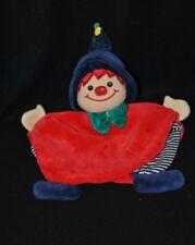 Peluche doudou clown lutin plat STERNTALER rouge noeud vert bonnet grelot TTBE