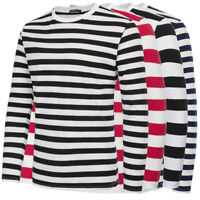 Mens Stylish Striped Pattern Long Sleeve Crew Neck Cotton T-Shirt Tops Oversize