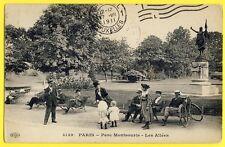 cpa 75 - PARIS en 1911 PARC MONTSOURIS Les ALLÉES Belle Animations Vélo Landau
