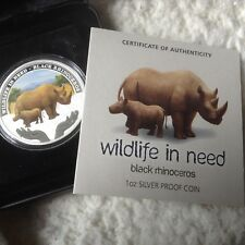 Wildlife in need Rhinocéros Noir 1 oz (environ 28.35 g) 999 pièce argent. 2012 Tuvalu.