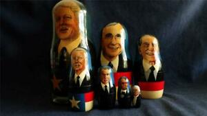 Russian Matryoshka Nesting Doll Set Of 7 U.S. Presidents Hand Painted Signed