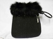 RARE! Black Fur Trim Mint Coach Wristlet Bag Purse Coach Expert Authenticated