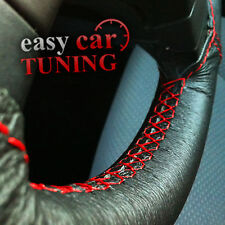 FOR VAUXHALL OPEL ASTRA G 98-04 BLACK REAL LEATHER STEERING WHEEL COVER RED STIT
