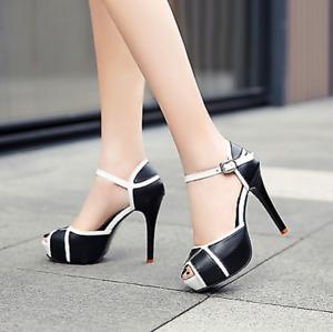 Women Peep Toe Ankle Strap Buckle Platform Sandals High Stiletto Heels Sexy Shoe