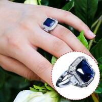 Frauen Silber Schmuck Ehering Blue Sapphire Ring Größe Favor 6 10 X8P0 B5I3