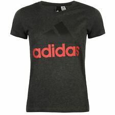 Adidas para mujer lineal QT Camiseta Camiseta Top Cuello Redondo Mangas Cortas Logotipo en el pecho Algodón