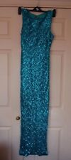 New 12 Jane Norman Turquoise Green Fully sequinned Maxi Dress Side Split Skirt
