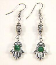 Silver Earrings Dangle Drop Hook Antique Boho Vintage Healing Hamsa Hand Green