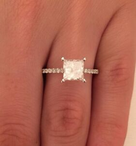 2.00 ct VS2 Princess Cut French Pave Diamond Engagement Ring 14K White Gold