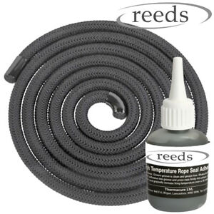 8mm Black Stove Rope 2m Length & Glue Kit Log Burner Door Seal Kit Reeds