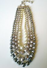 Retro Necklace Shades of Grey Acrylic Geometric Beads 4-Strand Silver Plated