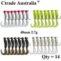 14x Bream Lures 2.7g Curl Tail Grub Lures Soft Plastic Bass Flathead Whiting