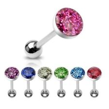 """GLITTER DOME STEEL BARBELL TONGUE RING TRAGUS PIERCING 14G 5/8"""" C222 7 COLORS"""