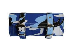 Azul Estampado de Camuflaje Motociclista Motocicleta Herramienta Bolsa Rool-Estructura De Cuero