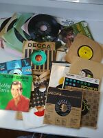 Records, 45 rpm most in sleeves, jukebox, listening, decor, Random Lot of 45 pc