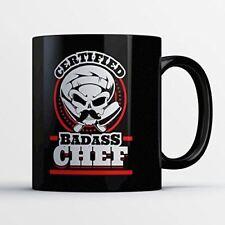 Chef Coffee Mug - Certified Badass Chef - Funny 11 oz Black Ceramic Tea Cup - Cu