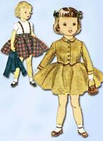 1950s Original Vintage Simplicity Sewing Pattern 3992 Toddler Girls Suit Size 3