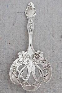 Antique Edwardian Art Nouveau Wallace Sterling Silver Violet Floral Bonbon Spoon