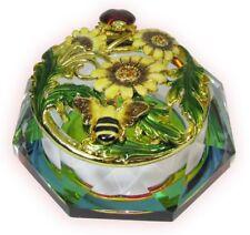 Ladybug Glass Bejeweled Trinket Box