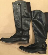 """GUESS """"Lurie"""" Leather RIDING BOOTS Black Size 8.5 Knee High Buckle Zipper"""