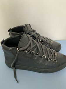 Balenciaga Men's Arena Grey Leather Mid-Top Sneakers - Size US 8 / EU 41 / UK 7