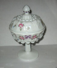 Westmoreland Embossed Grapes Painted Bow & Flowers Lidded Candy Compote