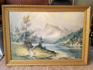 """Vtg Large Mountain Mist by Wijmer Repo Painting Print Wood Framed 40.5"""" x 28.5"""""""