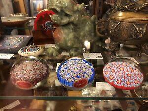 Vintage Italian Murano Millefiori Cane Art Glass Paperweight