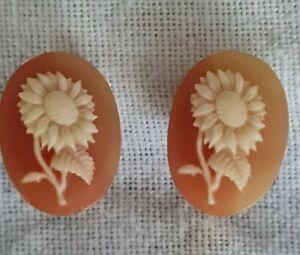 antike Ohrclips - Clips - mit Blumen Gemme - -Haushaltsauflösung - Nachlass