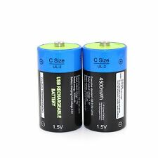 2pcs Etinesan C Size 1.5V Lithium LiPo 4500mWh BIG CAPACITY Rechargeable battery