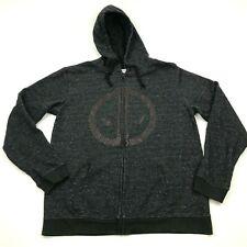 Marvel Deadpool Sweater Hoodie Size Extra Large XL Gray Full Zip Long Sleeve Men