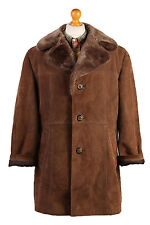Sheepskin Jacket Coat Suede Leather Aviator Bomber Fur lined  Size XL- C437