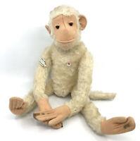 Petz Monkey White Mohair Plush 38cm 15in US Zone Tag ID Glass Button Germany Vtg