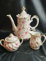 Vintage Lefton Ceramic Chintz Rose Pattern Teapot Creamer & Lidded Sugar Bowl