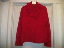 BEAUTIFUL RED FELTED WOOL RUFFLED SWEATER BLOUSE, X LG