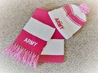 NEW Women's Pink & White w/ ARMY Logo Hat & Wrap Scarf Set W/Free Army Pin