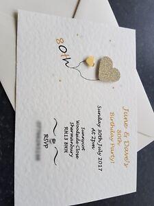 50 Handmade Personalised Birthday Invitations 18th 21st 30th 40th 50th 60th 70th