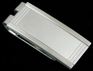 VTG COLIBRI LONDON STAINLESS STEEL MENS MONEY CLIP BRUSHED STERLING SILVER INLAY