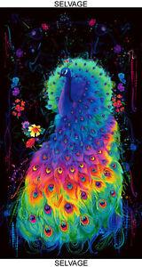 "Peacock Bird Rainbow Feathers Cotton Fabric Timeless Treasures C8411 24"" Panel"