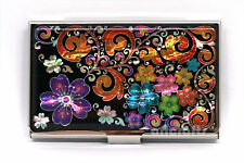 Mother of Pearl Metal Flower Business Name ID Card Case Money Cash Holder Wallet