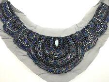 Negro cose en cuello de encaje vintage Estilo Guipur pequeño logotipo bordado de recorte de estilo 12