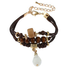 Bohemian Boho Brown Waxed Cotton Cord Gold Wooden Crystal Beaded Bracelet White