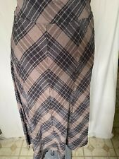 Adini 100% Cotton seersucker check skirt fully lined side zip fastening