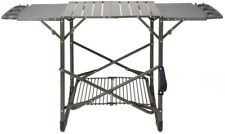 Grill Stand Portable Black Finish with 2-Flip Up Side Tables & Carrying Strap