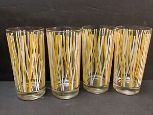 """Georges Briard Glasses Tumblers Highball Striped Yellow & White 4 Glasses 5.7"""""""