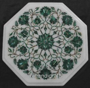 12 Inches Marble Sofa Side Table Top Inlay Coffee Table with Malachite Stone Art
