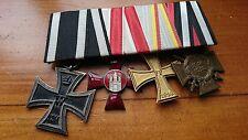WW1 German Medal bar 3x bravery awards, Iron Cross, Hanseatic cross, more
