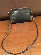 Vintage GANSON Black Leather SHOULDER BAG HANDBAG/CLUTCH w/ Removable Strap