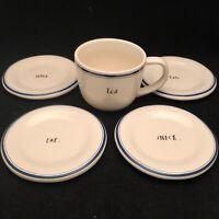 Rae Dunn 2017 Blue Line Snack Dessert Plate Set of 4 DINE EAT SAVOR SNACK